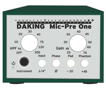Daking Mic Pre One Recall Sheet